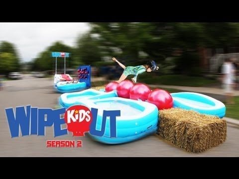 Dad Builds Wipeout Kids Course On Street - YouTube  I want to do this for the kids at Daycare.  doesn't that seem like fun????