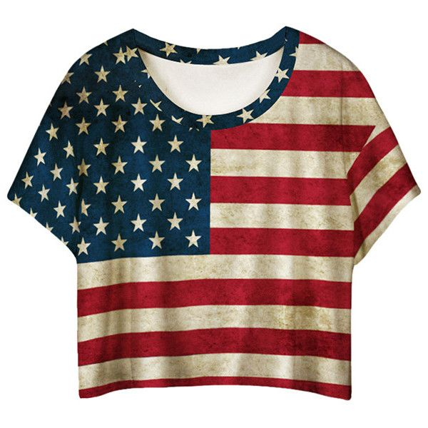 Red American Flag Printed Ladies T-shirt ($8.19) ❤ liked on Polyvore featuring tops, t-shirts, shirts, crop tops, red, tee-shirt, american flag crop top, red crop shirt, crop t shirt and red top