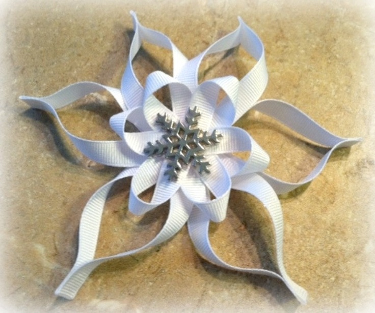 Hair Bow- Snowflake Ribbon Sculpture.