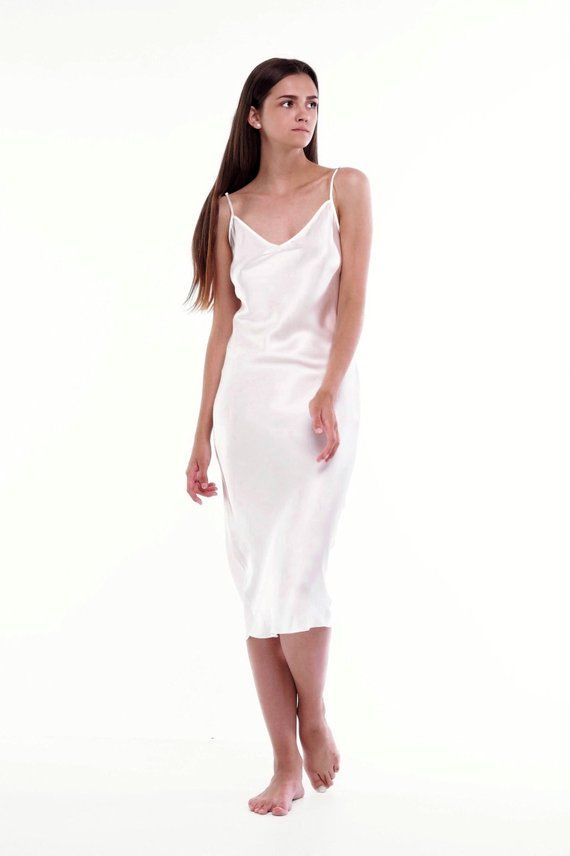 4546d6c6b4 Ivory bias cut silk slip dress Silk camisole White cream silk dress Sheryl  Ivory slip Bridal nightgo