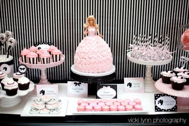 Barbie in Paris inspired party for little girls and adults alike... glamorous pink, black, and white!