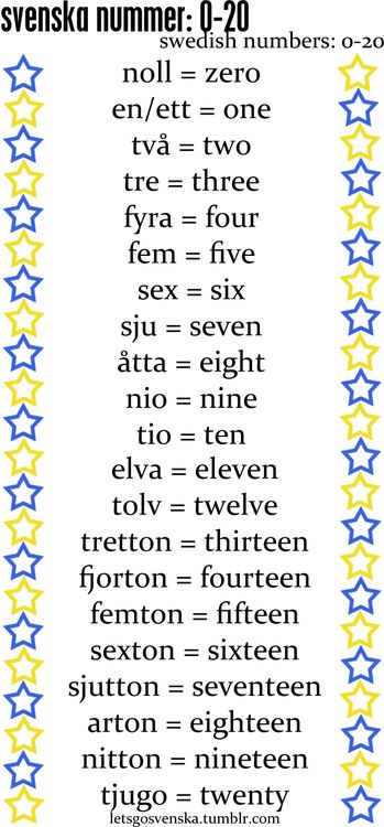 Swedish numbers   (my mother taught me these when I was little -- too bad the pronunciation didn't stick)
