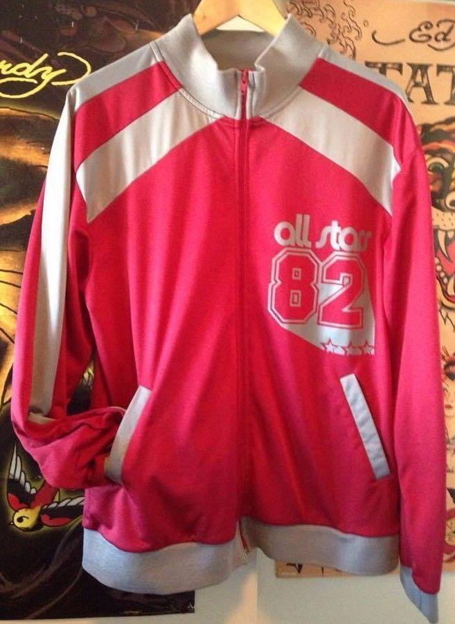 Vintage Retro Track Jacket Hip Hop Athletic Street Wear All Stars 82  Size L  #UglyShirt #FullZipTrackJacketVintageRetro