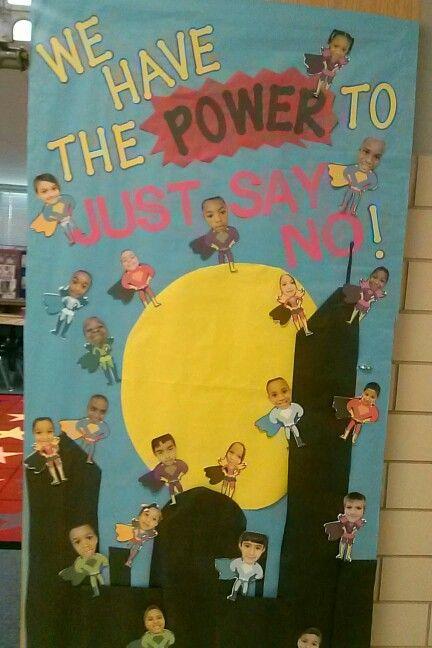 Red Ribbon Week door, superheroes, kid pics, hero, drug free