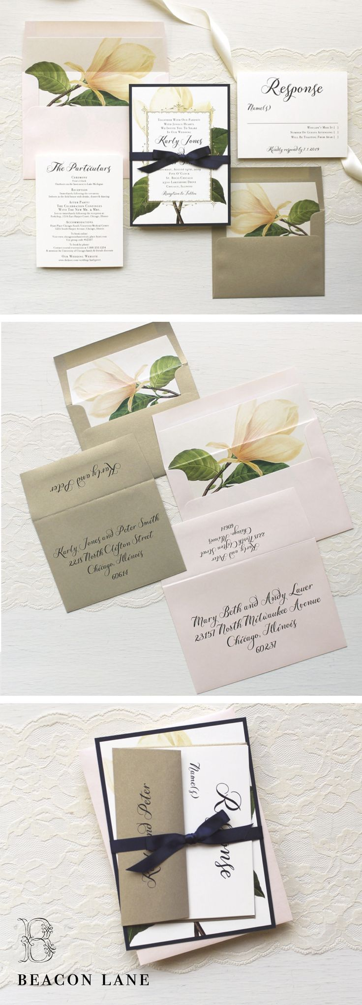 A mix of vintage florals and gold metallic, these Sweet Magnolia wedding invitations have just the right amount of glam. They're inspired by an elegant garden themed wedding. @beaconln