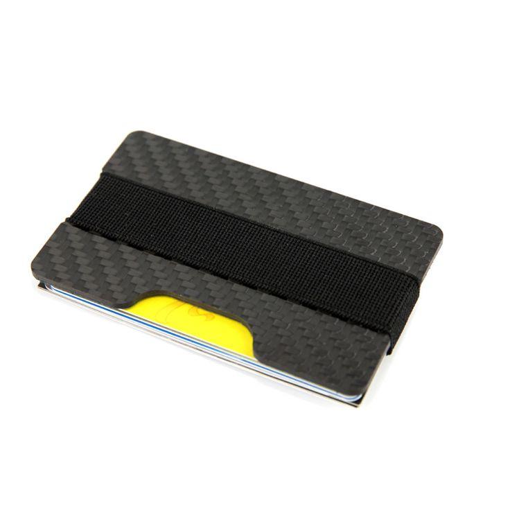 RFID Bloqueo de Fibra De carbono Banda de Dinero Titular de la Tarjeta de Crédito Delgada Caso Monedero carteras Tarjeteros Durable 3 K de Carbono Para hombres