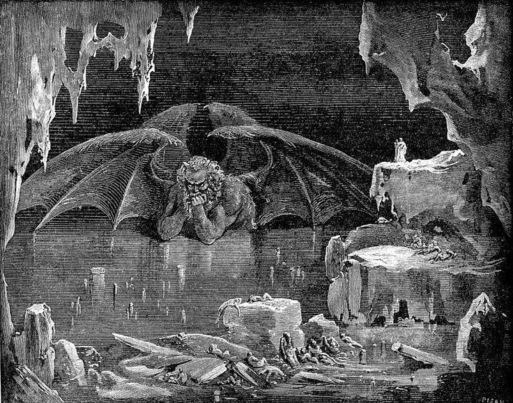"""Satan, the accuser (Gustave Doré, Illustration from Dante's Inferno).  Zechariah 3:1 - """"And he shewed me Joshua the high priest standing before the angel of the LORD, and Satan standing at his right hand to resist him."""" King James Bible """"Authorized Version"""", Cambridge Edition.  Charles Spurgeon says """"Satan, the old adversary of the chosen race, stirs himself up to resist them, and turn away the favor of God from them."""". Sermon; 1.22.1865; Metropolitan Tabernacle, Newington."""