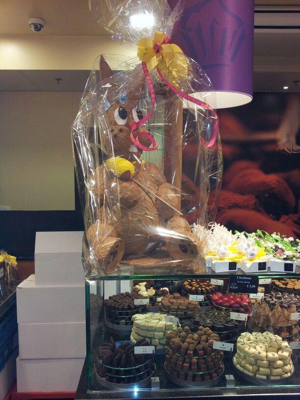 Huge handmade chocolade easter bunny!