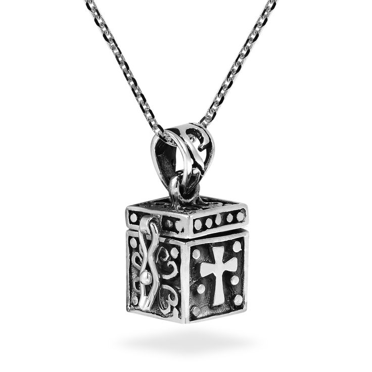 This trendy sterling silver prayer box necklace was handcrafted by local artisan Kung from Thailand. The pendant features a cross, fish, and heart which are symbols of Christianity. This graceful lock