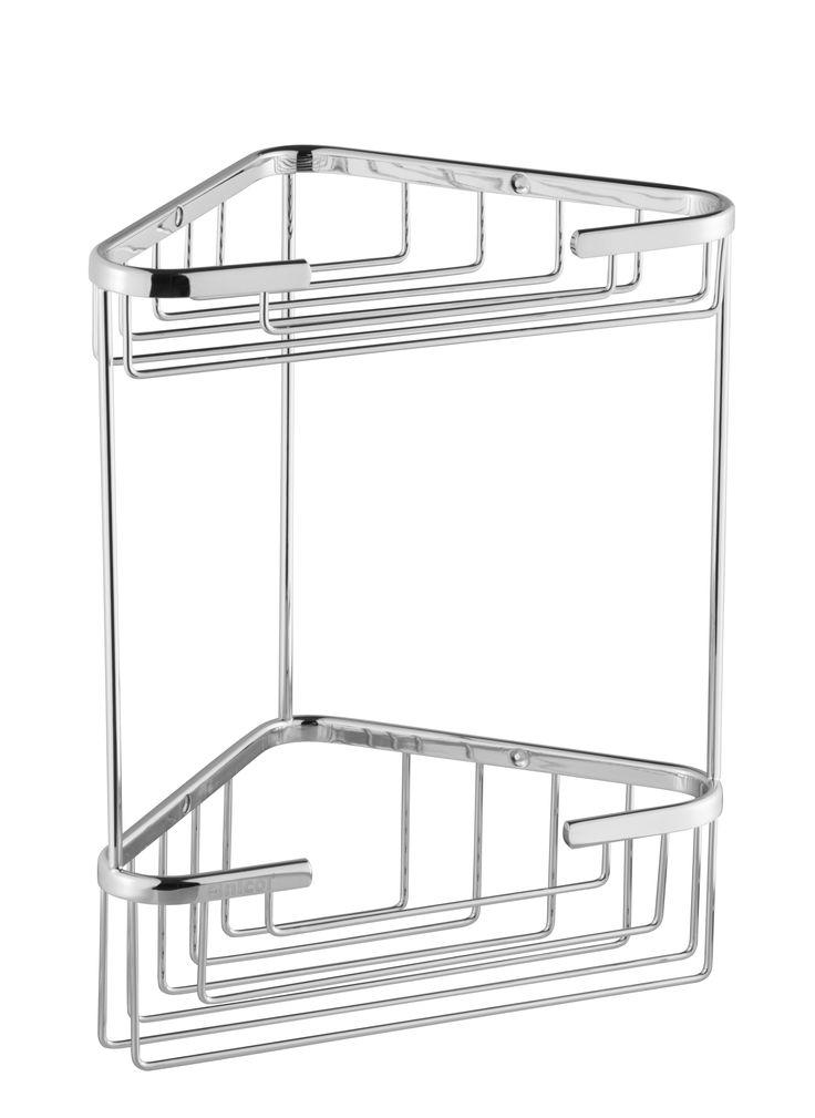 Das hochwertige Eckregal ELKE aus verchromten Messing bietet mit den zwei Ablagekörben Platz für Duschutensilien. Das Regal ist sehr hochwertig verarbeitet und damit sehr langlebig.