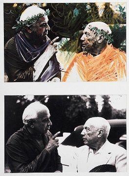 En vente vendredi 25 mars 2016 par Guillaume Le Floc'h à Paris : David Douglas DUNCAN (né en 1916). Portrait de Pablo Picasso et l'architecte Jacques Couëlle, 1960. Diptyque composé d'un tirage argentique contretype et d'une reproduction imprimée du portrait rehaussé par Picasso à la couleur, montés sur carton encadré. Image : Haut. : 27 cm - Larg. : 41,8 cm Diptyque : Haut. : 70 cm - Larg. : 52 cm. Est. 800 - 1 200 euros.