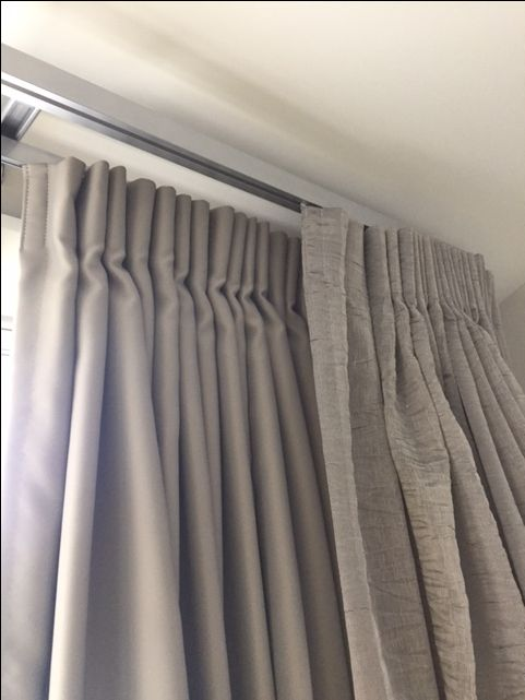 Vanda Verve Double Track  Colour Silver Orbital Coloured linings on the back track  Sheer fabric on the front track Reverse pleat heading