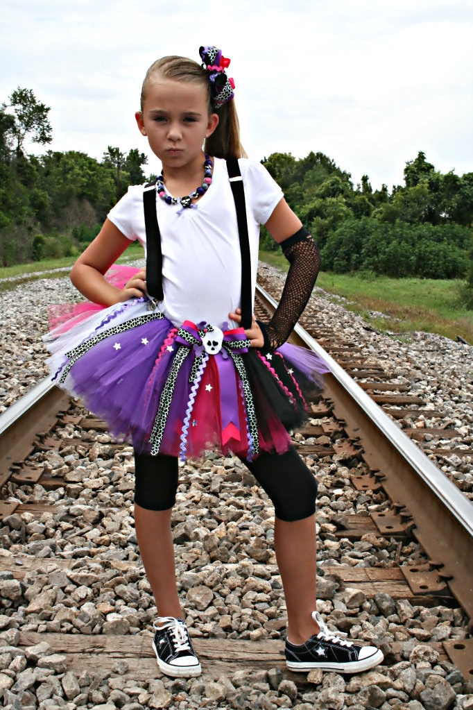 Rockstar Popstar Birthday Party Girl Skulls and Bones Diva Tutu Skirt  (12mos-6x). $36.00, via Etsy.