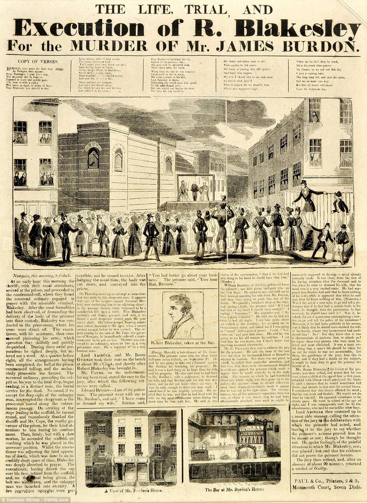 Eleven clippings from that era are being sold at Dominic Winter Auctioneers in Cirencester, Gloucester. One of those being auctioned is the story of the execution of R. Blakesley, who murdered James Burdon in 1841
