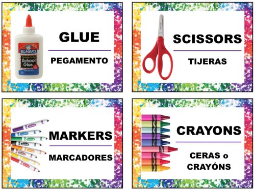 Free Supply Labels in English and Spanish for Art Supplies in the Art Room or Classroom. PDF download in post and Just for Teachers section!