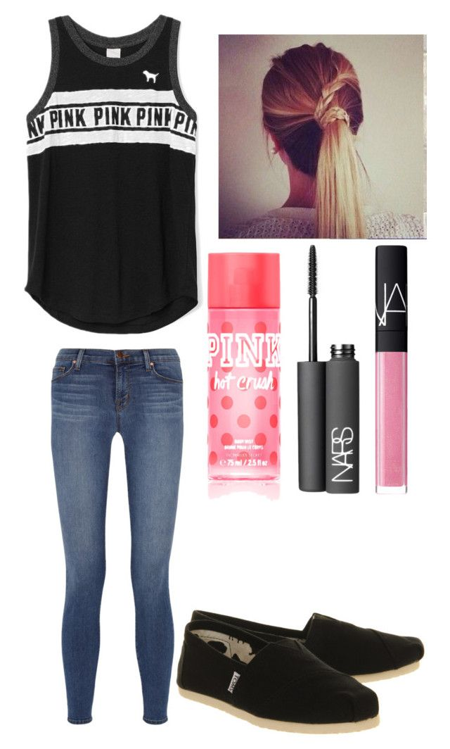 """""""CHECK OUT DAYA'S SONG HIDE AWAY! """" by hailstails ❤ liked on Polyvore featuring J Brand, TOMS and NARS Cosmetics"""