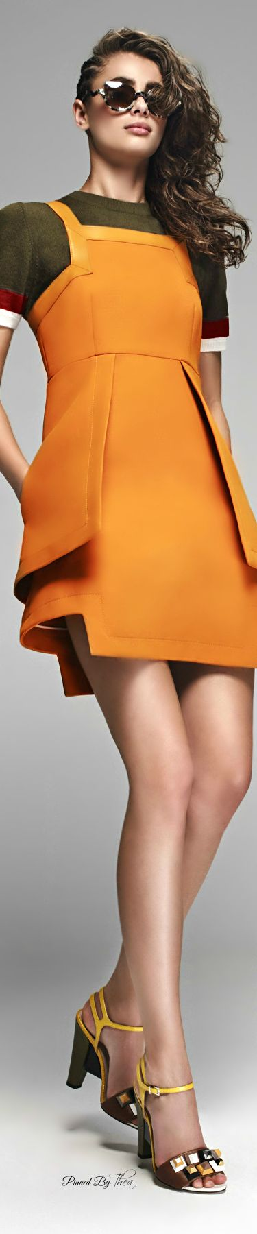 Gorgeous Orange geometric print midi dress for Fendi ● Pre Spring 2016