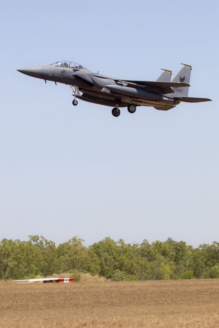 A Republic Of Singapore Air Force F-15 lands at RAAF Base Darwin after a sortie during Exercise Pitch Black 14. CPL Craig Barrett Copyright © Commonwealth of Australia, Department of Defence