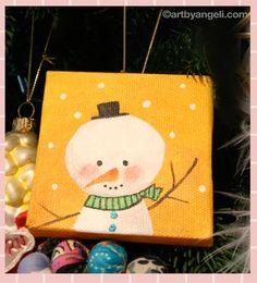 Mini canvas – Christmas ornament by Angeli Verastegui @artbyangeli.com | best stuff