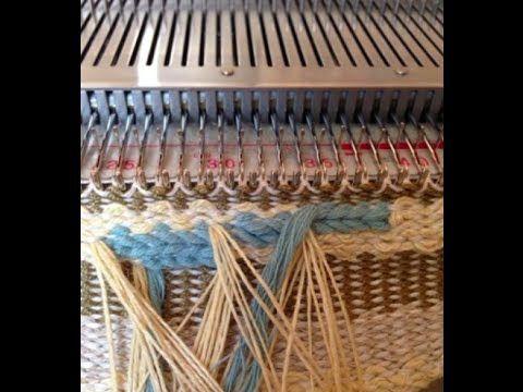 ▶ fringed edge machine knitting - using weave technique - YouTube