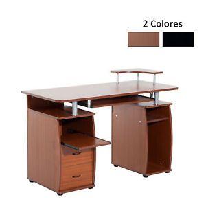 a homcom mesa de ordenador pc mobiliario oficina escritorio madera 120x55x85cm