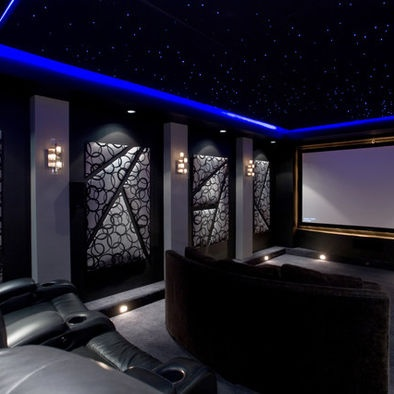 Home theater with led ceiling ceiling n blue light my - Interior design for home theatre ...