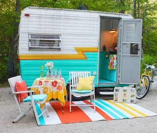 colorful camper decor, cute camper redo, cutest camper, glamper, cute vintage camper, glamping in a camper, glamping, orange turquoise and yellow, crate and barrel camper roadtrip 2015, Miss Mabel