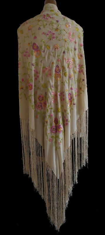 Vintage 20s Silk Embroidered Flowers Fringed Piano Shawl Scarf - 1920s Pink…