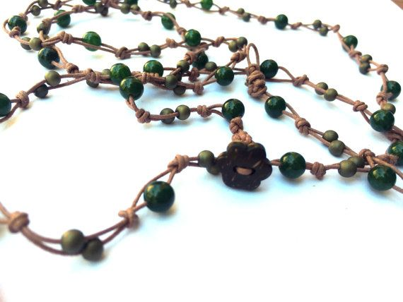 Agate Necklace Green Agate Wrap Necklace Boho Chic Handmade