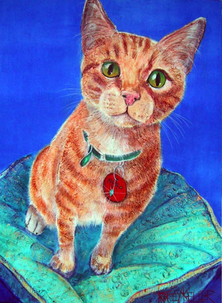 Vintage Tracey Keller Painting - cat pet portrait