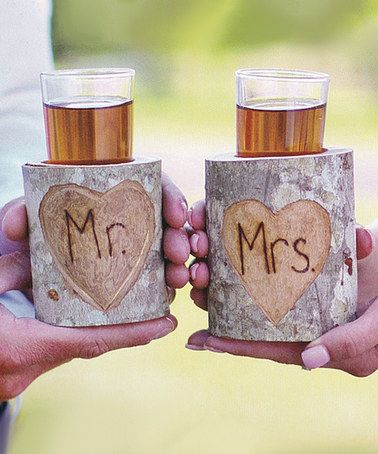 Another great find on #zulily! 'Mr.' & 'Mrs.' Rustic Shot Glass Stand Set #zulilyfinds