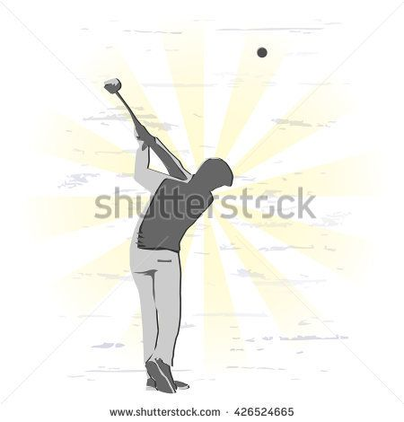 Golfer swinging. Man playing golf on a golf course in the sun. Vector illustration.