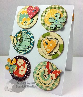 Love the bright fun feel of these embellishments - and a great idea to put embellishments on a card