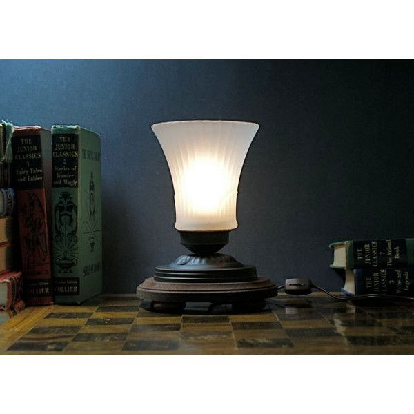 Victorian Inspired Accent Light Table Lamp Frosted Fluted Glass Shade... (€67) ❤ liked on Polyvore featuring home, lighting, table lamps, outdoor shade, wood base table lamp, brown shade, brown cord lights and brown shades