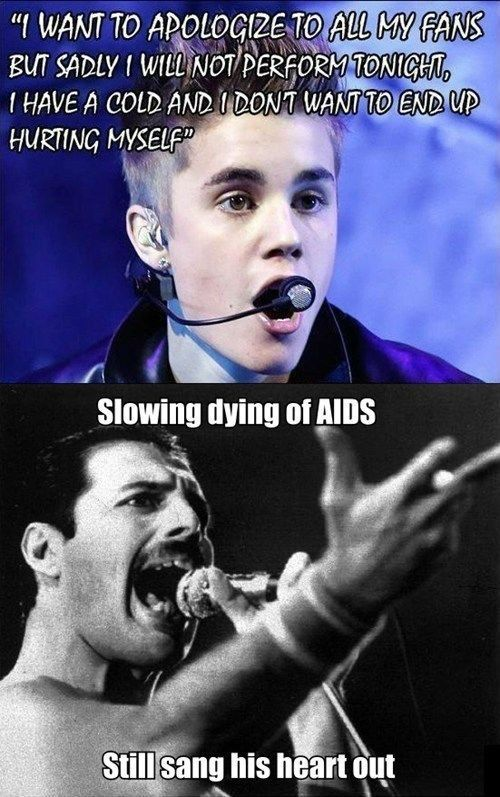 freddie mercury meme | tags freddie mercury justin bieber aids submitted by thetundraterror