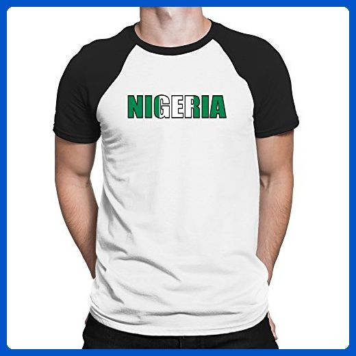 Teeburon Nigeria Flag Raglan T-Shirt - Cities countries flags shirts (*Amazon Partner-Link)