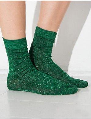 Green Glitter Socks