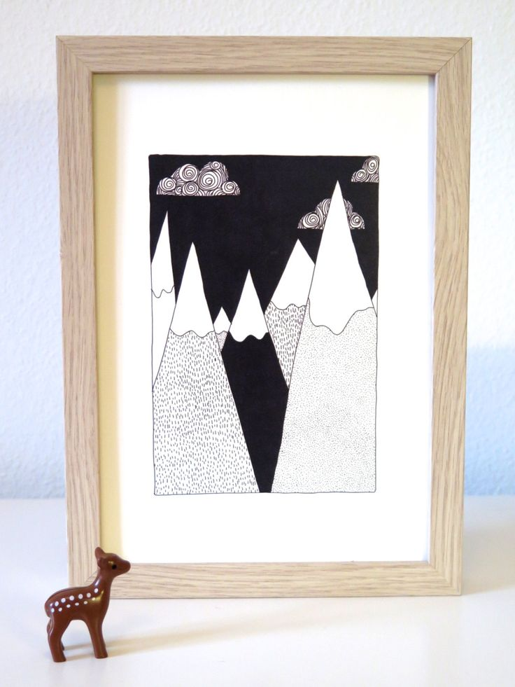 Affiche montagne noir et blanc. Dessin by Yellow Paper Car #deco #illustration