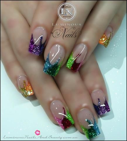 Beautiful colored french nails with a lil twist
