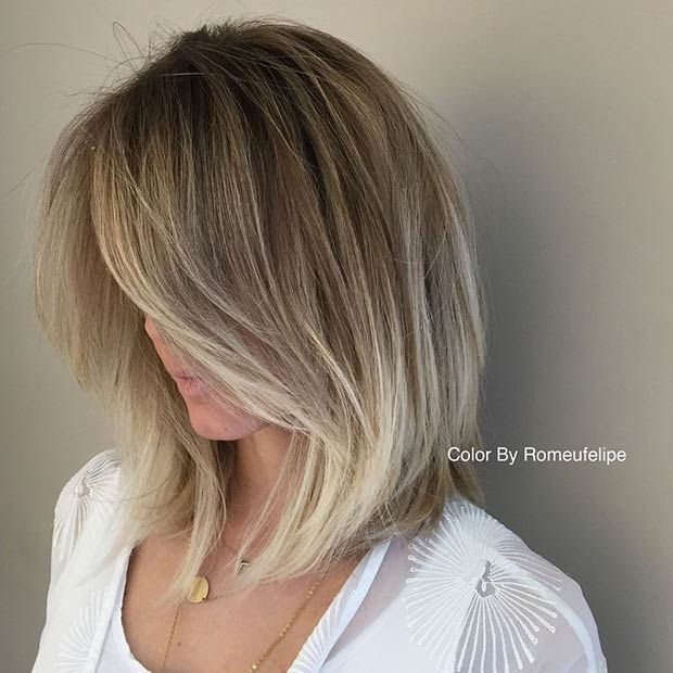 Slightly A-Line Lob + Silver Blonde Lowlights