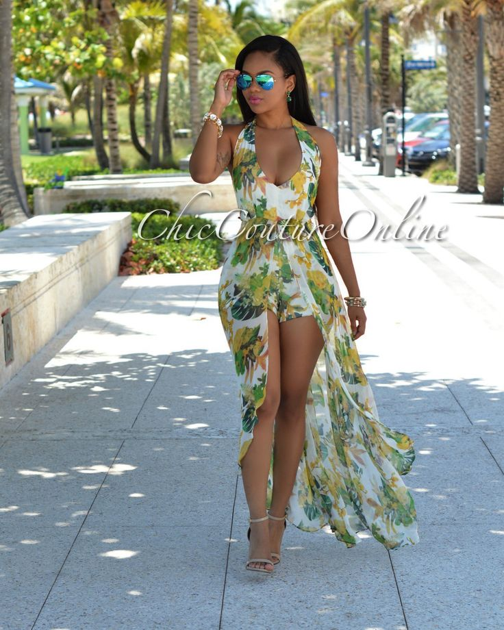 Chic Couture Online - Gatsby Ivory Yellow Multi-Color Floral Romper Maxi Dress, $60.00 (http://www.chiccoutureonline.com/gatsby-ivory-yellow-multi-color-floral-romper-maxi-dress/)