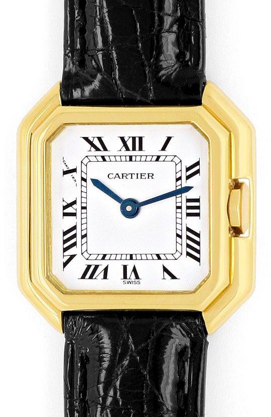 Foto 2, Cartier Ceinture 18K Gelbgold Krokodil-Armband Damenuhr, U2110