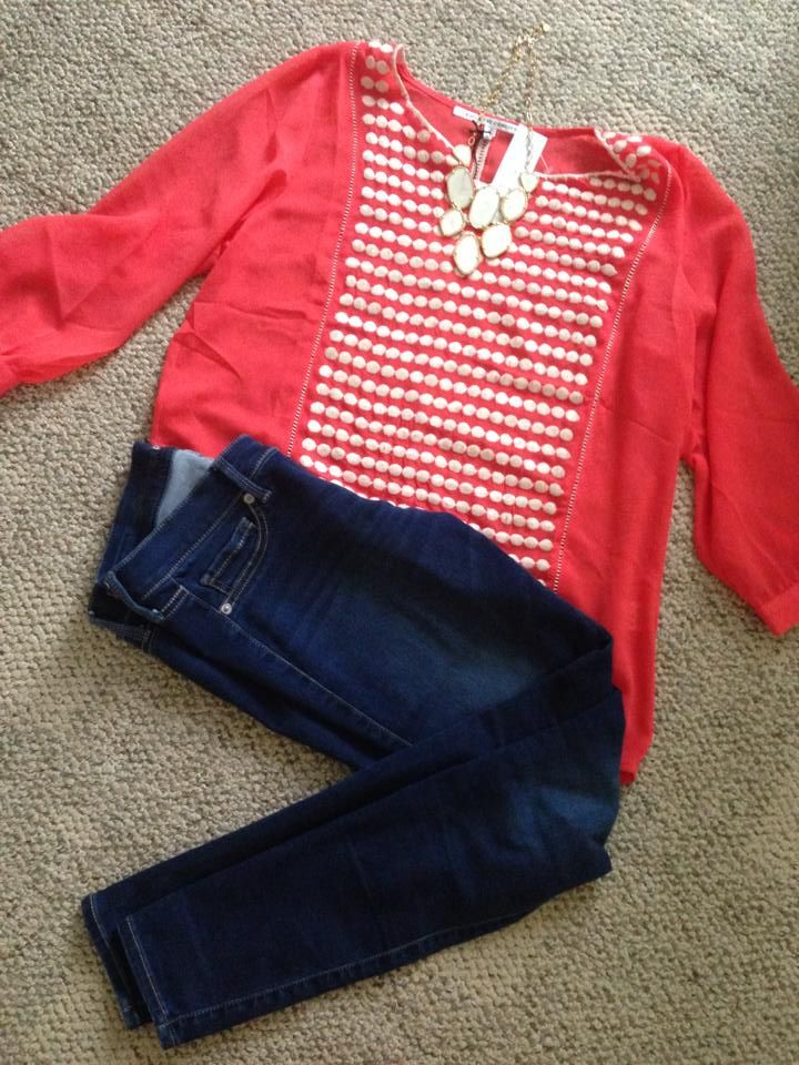Stitch Fix Collective Concepts Adela Embroidered Split Neck Shirt and Stella Dot Fiona Necklace.