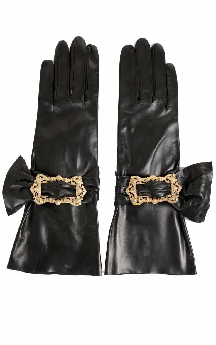 Black leather gloves brisbane - Imoni Gloves Leather Buckle
