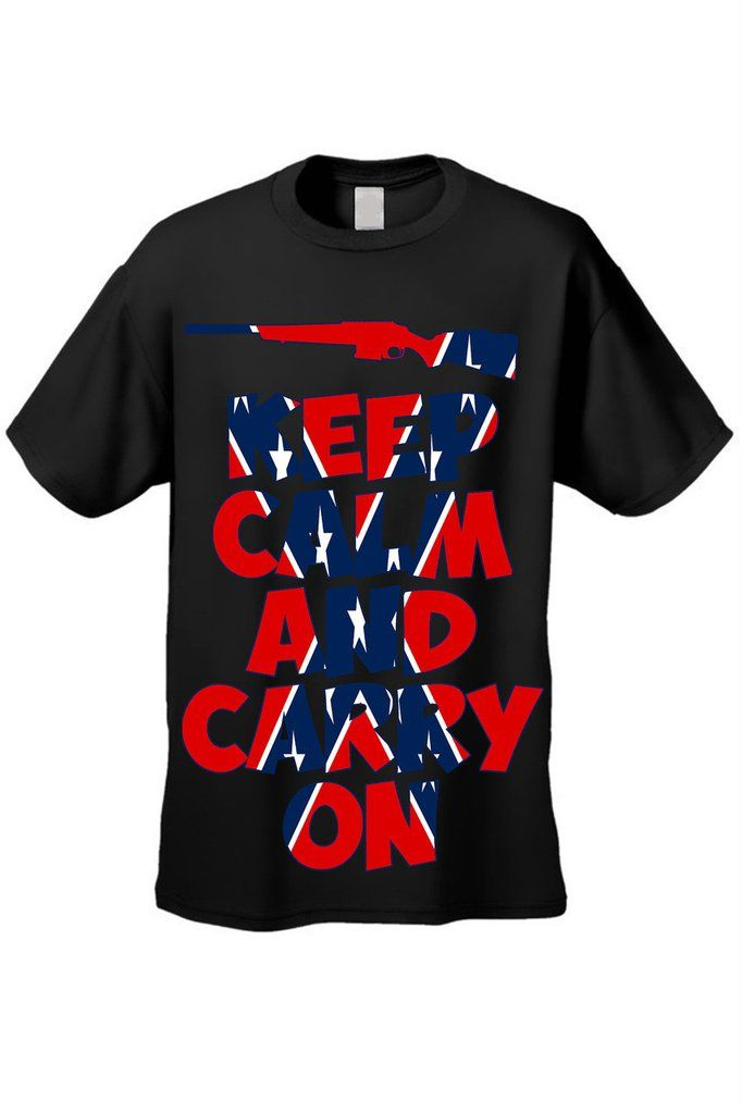 Men's Rebel Flag T-Shirt Keep Calm And Carry On Short Sleeve Tee