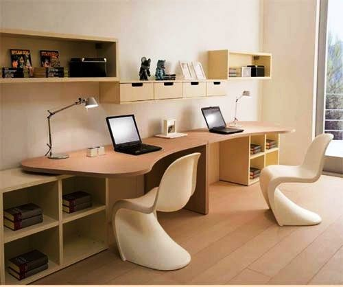 two person curved desk