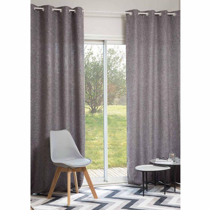 LARY grey eyelet curtain 140 x 250 cm