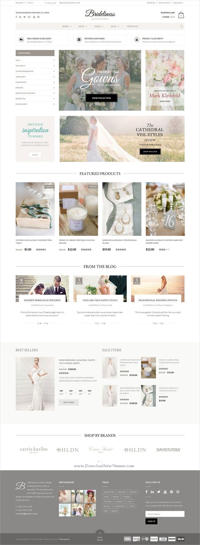 Brideliness is a stylish responsive 5in1 WooCommerce #WordPress theme for stunning #wedding / #bridal shop #eCommerce website download now➩ https://themeforest.net/item/brideliness-wedding-shop-woocommerce-theme/19535925?ref=Datasata