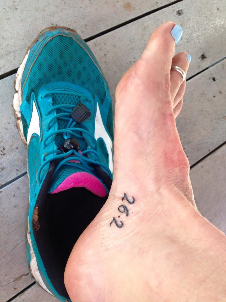 Marathon tattoo - a permanant reminder of what was achieved in 4 hours and 12 minutes, 26/04/2015.