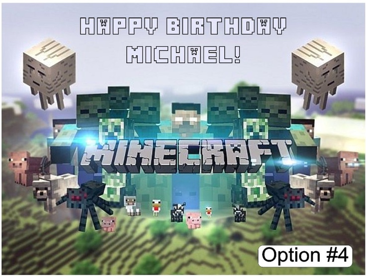 Edible Minecraft Edible Image Cake Topper For 1 4 Sheet 1 2 Sheet Birthday Cake Or 8 Or 9 Inch